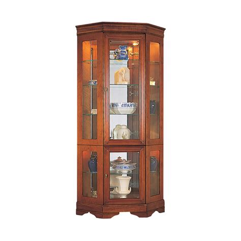 Furniture Round Clear Glass Tall Cabinet With Glass Doors