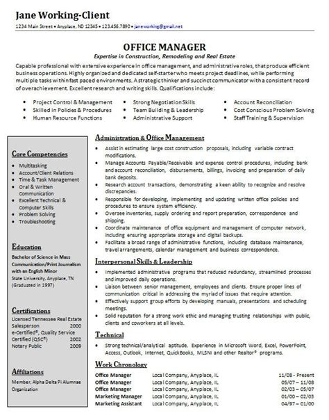 office manager resume best resumes