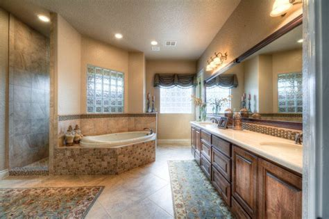 lightly decorated master bath  plenty  open space  hidden walk  shower
