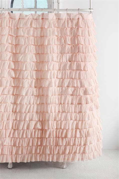 Pink Ruffle Curtains Outfitters waterfall ruffle shower curtain