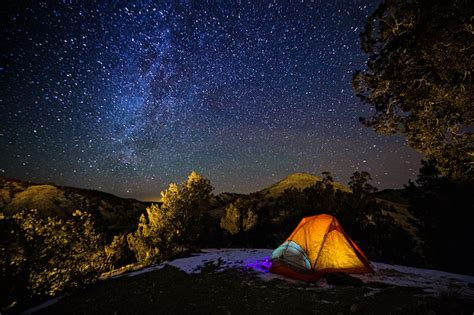 Camping Tent Under The Stars Milky Way Galaxy