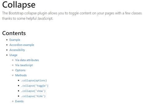 bootstrap  collapse full reference  examples