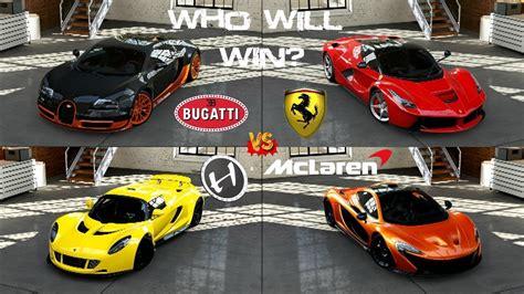 Bugatti Vs Hennessey Vs La Ferrari Vs Mclaren P1