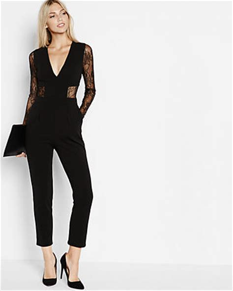express jumpsuits black lace back and sleeve jumpsuit