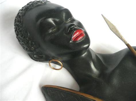 african tribal chalkware vintage chalkware plaque