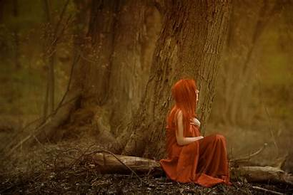 Forest Woods Alone Redhead Waiting Redheads Trees