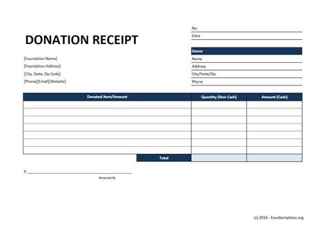 donation receipt template excel templates excel