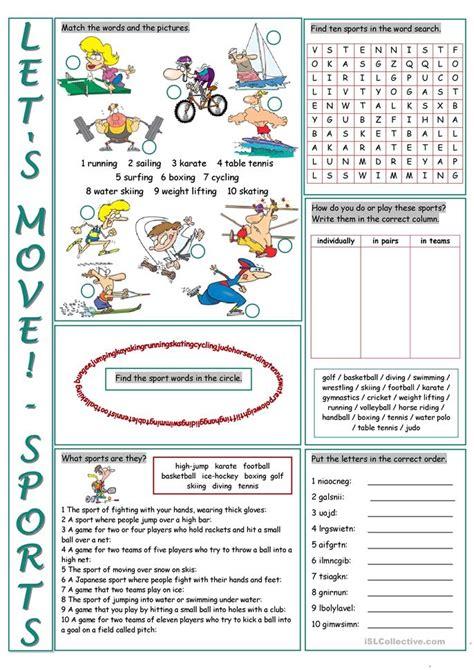sports vocabulary exercises worksheet  esl printable
