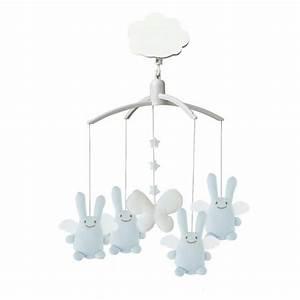 Mobile Bébé Musical : mobile musical ange lapin bleu ciel trousselier ~ Teatrodelosmanantiales.com Idées de Décoration