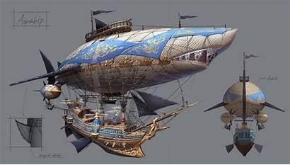Steampunk Airship Pirate Fantasy Ships Ship Flying
