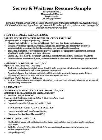 Waitress Resume by Server Waitress Resume Sle Resume Companion