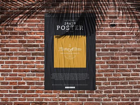 World's best curated collection of mockups for designers. Bricks Wall 24x36 Poster Mockup Free by Mockup River on ...