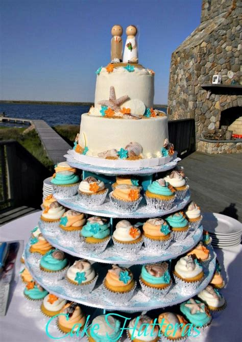teal  orange beach wedding cakecentralcom