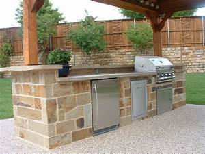 outdoor kitchen area with grilling station fort worth With idee amenagement cuisine d ete