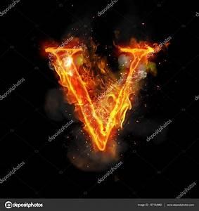Fire letter V of burning flame light — Stock Photo ...