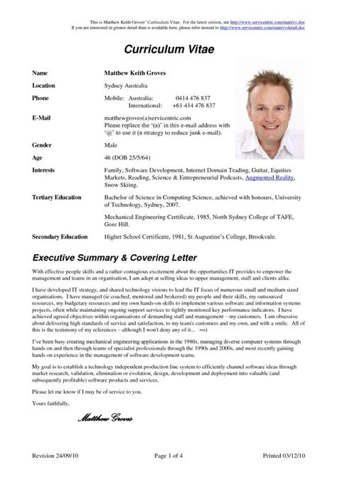 Cv Doc by Curriculum Vitae Document Resume Cover Letter