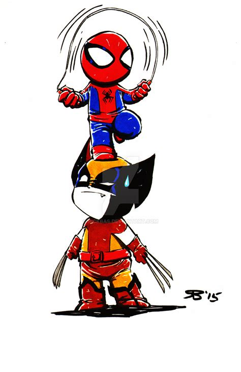 Chibi Spiderman Wolverine By Rickbas On Deviantart