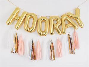Hooray balloons gold letter balloon tassel garland set for Balloon letter banner
