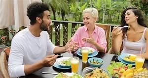 People Group Talk Eating Healthy Vegetarian Food, Friends ...