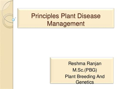 Principles Of Plant Disease Management