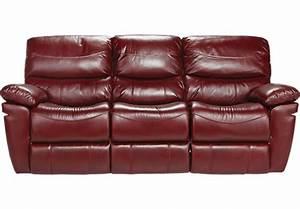 La verona red leather reclining sofa reclining sofas red for Red leather sectional reclining sofa