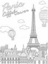 Eiffel Tower Colouring France Coloring Coloringpage Colour Check sketch template