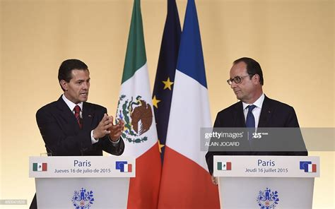 Mexican President Enrique Pena Nieto and French President ...