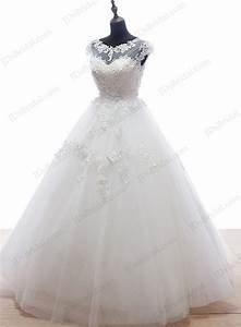 is055 plus size illusion top ball gown wedding dress with With low back ball gown wedding dress