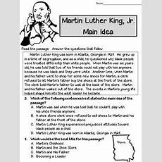 Main Idea And Best Title Worksheets Martin Luther King (test Prep