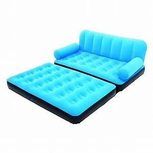 Canape lit gonflable 4 en 1 bleu pompe incluse maison for Canapé lit gonflable electrique