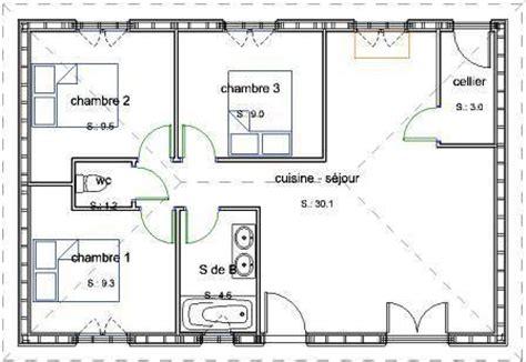 plan maison ossature bois plain pied gratuit pavillon de plain pied en bois avec 3 chambres