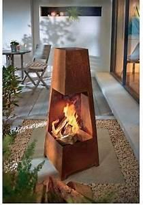 Feuer Kamin Garten : terrassenkamin rustik au enkamin 100 cm h rostoptik terrassenofen garten feuer gartenansichten ~ Markanthonyermac.com Haus und Dekorationen