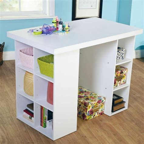 Counter Height Desk by White Counter Height Craft Work Table Storage Organizer