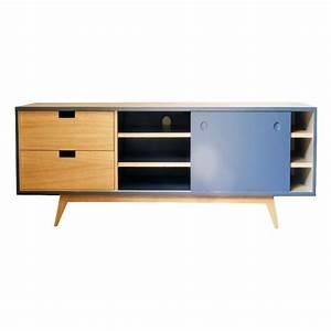 Meuble Chene Gris : meuble tv scandinave ch ne et gris ardoise ~ Teatrodelosmanantiales.com Idées de Décoration