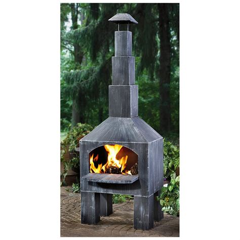 outdoor cuisine castlecreek cabin cooking steel chiminea 281492