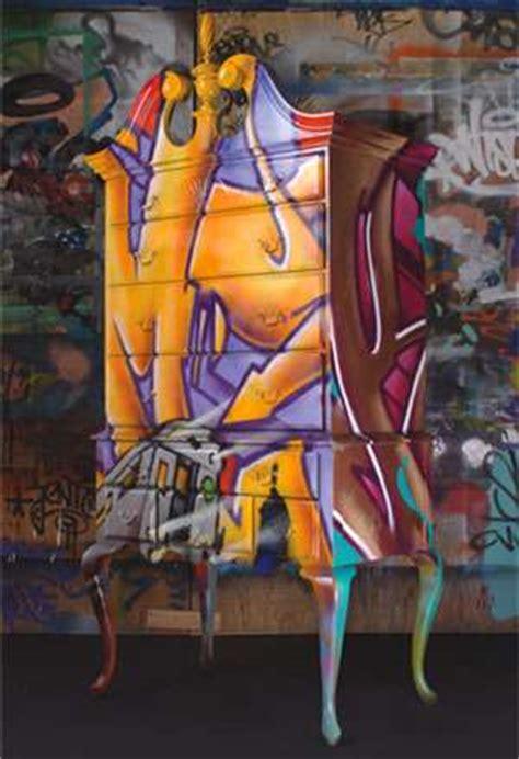 street art inspired furniture graffiti embellished cupboards