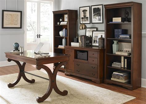 brookview home office writing desk with poplar solids cherry birch veneers in rustic cherry finish