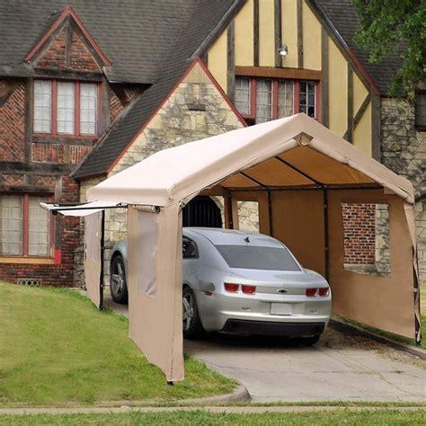 abba patio    feet heavy duty carport canopy  windows  sidewalls beige overstock