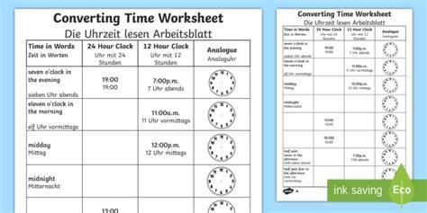 converting time worksheet worksheet englishgerman