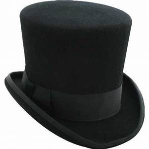 Black Mad Hatter Top Hat 100% Wool Victorian - Alice-in