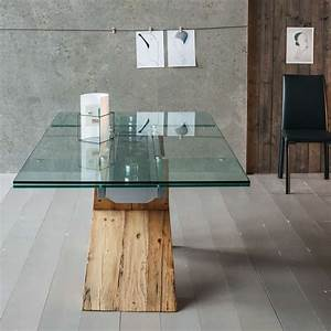 Table Plateau Verre Pied Bois : table design extensible en verre et bois tabia big 4 pieds tables chaises et tabourets ~ Melissatoandfro.com Idées de Décoration