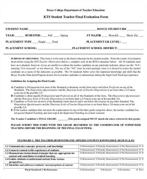 college teacher evaluation form 20 sle teacher evaluation forms