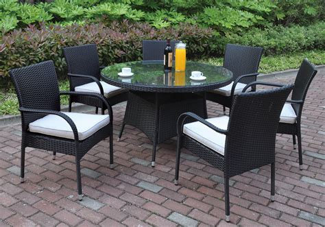 7 pcs outdoor patio dining set glass table black pe