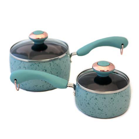 paula deen signature porcelain robins egg blue saucepan