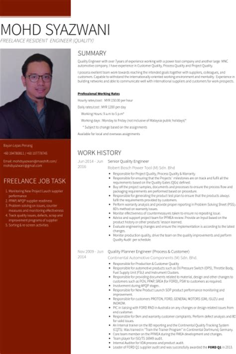 quality engineer resume sles visualcv resume sles