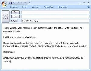 e mail message out of office reply formal With out of office email template