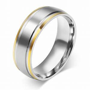 18k gold plated rings 316l stainless steel rings for men for Stainless steel wedding rings for men