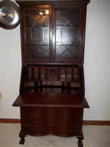 vintage antique mahogany serpentine front secretary desk