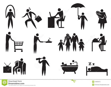 Each team repeats the following sequence over a 63 day period: Icon Of Man Doing His Daily Routine. Stock Photo - Image: 44693575