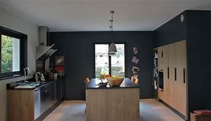 cuisines on pinterest flan first home and space saving With deco cuisine avec chaise sejour noir